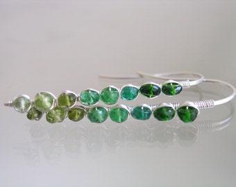 Green Gemstone Earrings - Tsavorite Linear Dangles - Silver Stem Earrings - Emerald - Apatite - Peridot - Original Design - Made to Order