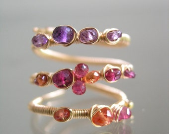 Twilight Gemstone Wraparound Ring in 14k Gold Filled Wire, Wire Wrapped Ring with Amethyst, Spinel, and Sapphires