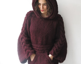 Plus Size Burgundy Knitting Sweater with Hoodie by Afra