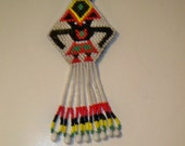 Tribal Pendant Necklace Beaded with Red, Black White & Yellow Glass Beads on Red Multi Strand Leather Cord