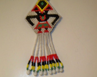 Tribal Pendant Necklace, African Beaded Pendant, Red, Black, White, Yellow Native Handmade Beaded Pendant on Red Multi Strand Leather Cord
