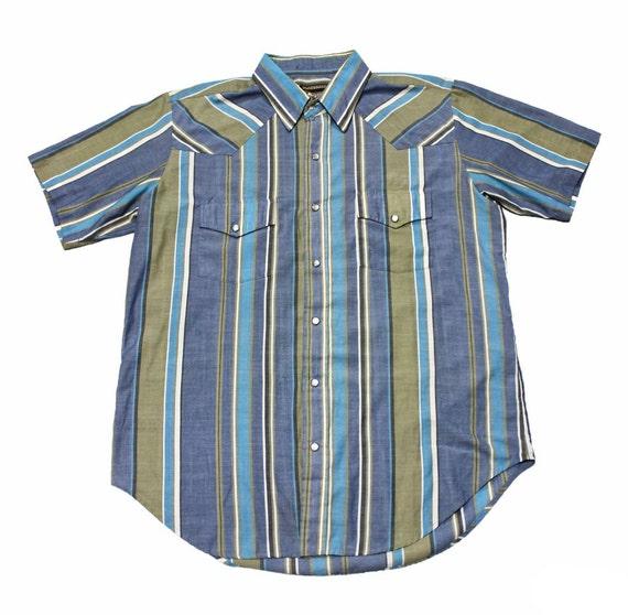Vintage 90s plainsman pearl snap striped button up shirt mens for Striped button up shirt mens