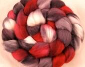 Merino Hand Painted  Wool Roving - Vampire