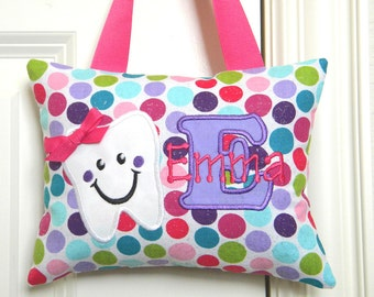 Girls Personalized Tooth Fairy Pillow Glitter Polka Dots