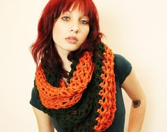 SALE Color Blocking Cowl Hood Vegan scarf forest green pumpkin orange