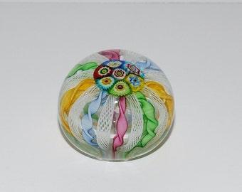 Murano Archimede Seguso Art Glass Millefiori Latticino Zanfirico Paperweight