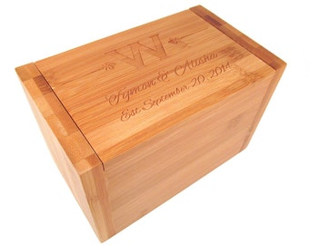 Personalized Recipe Box - Monogram, Names, Date