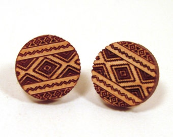 Tribal Wooden Post Stud Earrings