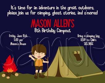 Custom Printable Camping Birthday Party Invitation