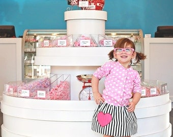 Girls Valentine's Day Skirt - I HEART Stripes - Baby, Toddler, Big Kid Sizes - You Choose Heart Color - Birthday Gift or Photo Shoot Idea