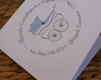 New Baby Announcement or Congratulations Commemorative Pram Illustration personalised Card