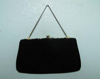 Vintage Black Harry Levine H L USA Evening Bag Kiss Lock Purse 9874