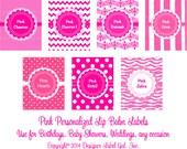 24 Personalized Pink Weatherproof Lip Balm Labels  Chevron, Damask, Dots, Stripe, Hearts, Zebra