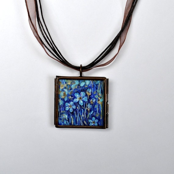 Mothers Day SALE -  Jewelry - Forget Me Nots Necklace - Pendant - One of a Kind - Handpainted - Flower Painting - Dana Marie Wearables