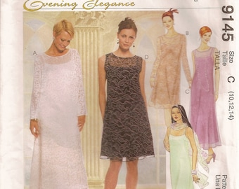 McCalls 9145, sewing pattern, misses dress, slip dress, scarf, size 10 12 14, sewing supplies, formal dress, evening elegance, a line dress