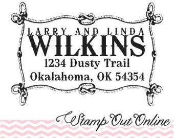Western old west style Custom Self inking return address rubber stamp --2500