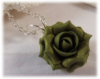 Dainty Olive Rose Necklace - Olive Rose Jewelry, Olive Flower Necklace