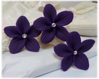 Purple Flower Hair Pins - Purple Flower Hair Clips, Purple Flower Bobby Pins, Purple Flower Wedding Hair Pins, Purple Flower Bridal Hairpins