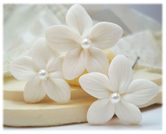 White Stephanotis Pearl Hair Pins - Bridal Hair Flowers, Stephanotis Flowers, Wedding Hair Clips, Pearl Hair Flowers, White Bridal Hair Pins