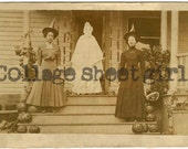Vintage Halloween Photograph Witches and Ghost on a Pumpkin Porch Reprint E270