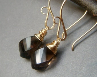 Smoky Quartz Earrings, Handmade Goldfill Earrings, Wirewrapped Step Cut Taupe Gold Filled Gemstone, Genuine Smokey Smoky Quartz Dangle