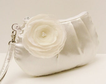 Bridal Clutch Purse Bridesmaid Pleated Wristlet Ivory Cream Satin with Flower Brooch