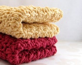Cotton Dishcloths, Brick Red and Country Yellow Handmade Washcloths, Eco Friendly Dish Cloths, Crochet Wash Cloths