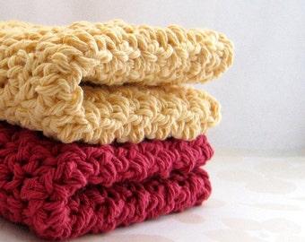 Cotton Dishcloths, Brick Red and Country Yellow Handmade Washcloths, Eco Friendly Dish Cloths, Crochet Wash Cloths