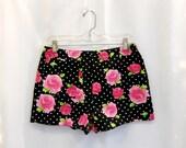 Black and White Polka Dots High Waist Shorts Rose Print Shorts Floral Print Shorts Cotton Shorts High Waisted Shorts Pink Roses Size Small