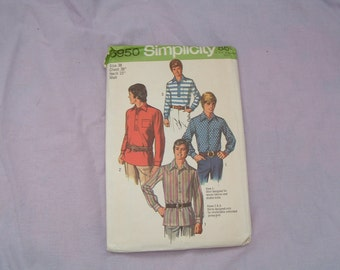 Vintage 1970s mans  shirt pattern simplicity 8950