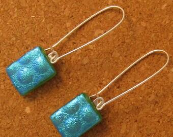 Dichroic Earrings Fused Glass Earrings Glass Dangle Earrings Dichroic Jewelry