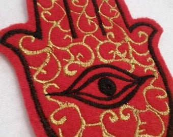 Hamsa, Chamsa, khamsa embroidered iron on patch gold  and black