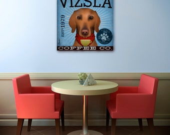 Vizsla red dog coffee company graphic art illustration on gallery wrapped canvas by Stephen Fowler