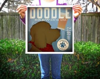 Goldendoodle Labradoodle doodle Brewing beer dog graphic illustration signed giclee archival artists print