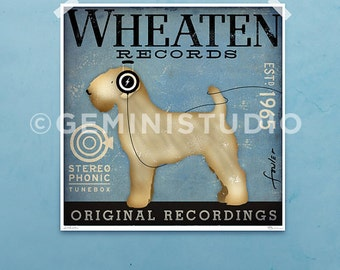 Wheaten Terrier Records original graphic giclee archival print by stephen fowler