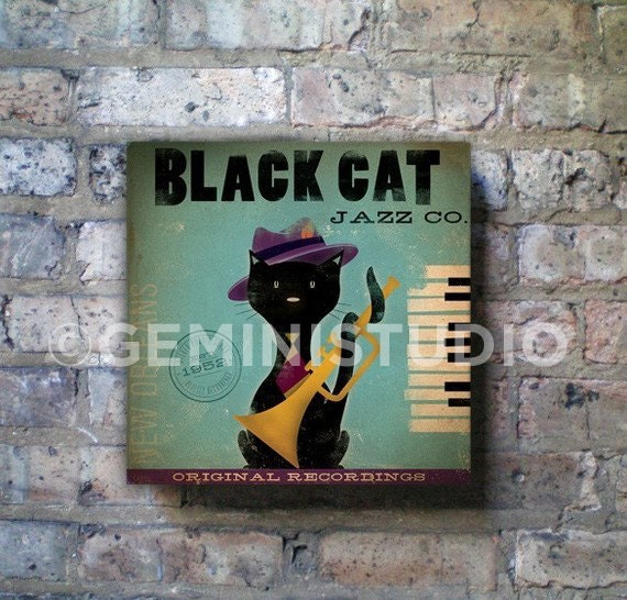 Black Cat Jazz Company vintage style illustration art on gallery wrapped canvas by stephen fowler