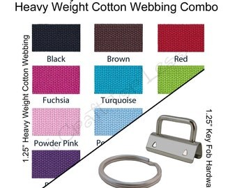 20 Yards Cotton Webbing Heavy Weight  / 50 Key Fob Hardware Combo - 1.25 Inch - Plus Instructions - SEE COUPON