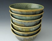 Cereal / Ice Cream / Soup Bowls in Celadon with Wave Textured Rim