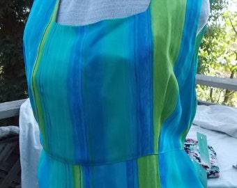 Summer Dress vintage 80s 90s Simple Tank Gown Gorgeous Colors Cool Tones NWT Meghan Matthews bust 38 sz 12 14
