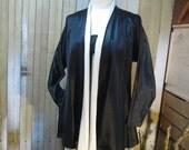 Betsey Johnson Vintage Jacket 80s punk tag new wave Black satin Jacket modern vintage