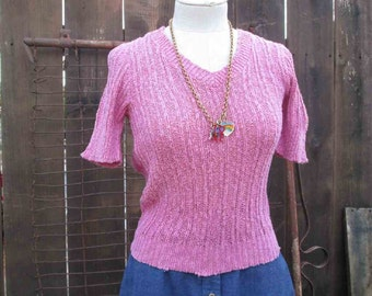 Vintage 70s pullover bright Pink Cotton Linen Sweater Vintage V neck short sleeve S M