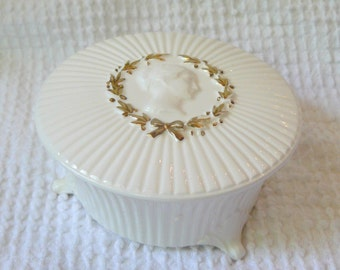 Vintage Ivory porcelain footed vanity dish with lid and cameo accent - Made by Narco - Japan