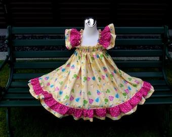 Girl Yellow Dress, Pink and Yellow Girl Dress, Ruffle Dress, Baby Doll Style Dress, Polka Dots Girl Dress,Flutter Sleeve, Princess Dress
