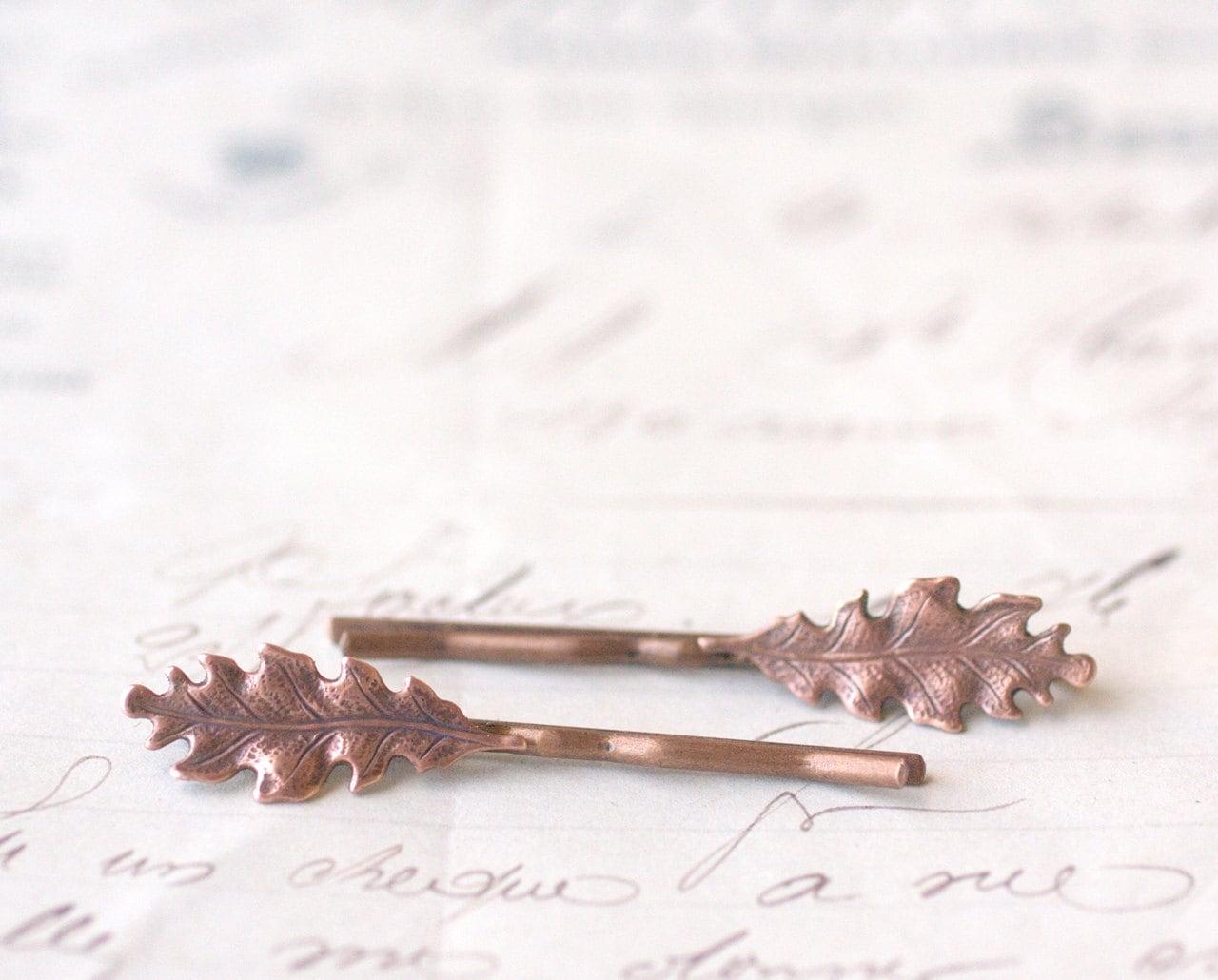 oak leaf hair pins leaves bridal copper bobby pin by