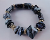 Beaded Bracelet Blue Marble -  Stretchy Bracelet  - Accessories