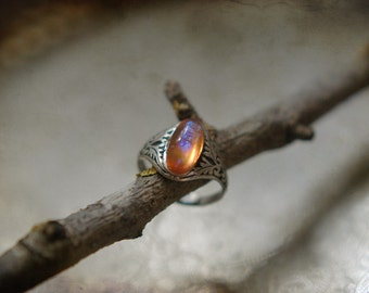 Dragon's breath - Mexiacn fire opal glass adjustable size ring in antique silver or bronze Victorian style band with oak leaves