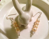 Pretty in Peach Earrings (Glass Pearl and Crystals)