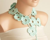SALE-Flower Scarf Handmade Crochet Mint Green Flower Lariat, Scarf, Necklace