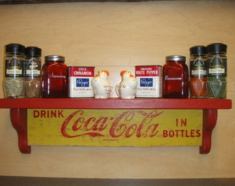 Coca-Cola RETRO wooden wall display shelves - crafted from Vintage 1960's original cases