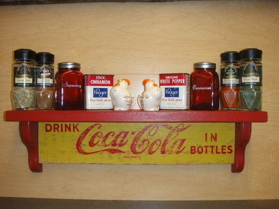 Coca Cola Retro Wooden Wall Display Shelves Crafted From